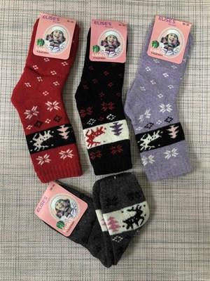 Носки для девочек шерсть с махрой олени - фото 17646