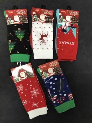 Новогодние носки с рисунками Дед Мороза, Олени, Елки - фото 18033