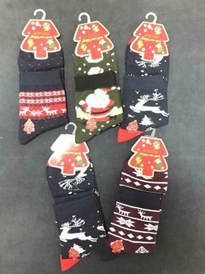 Новогодние носки с рисунками ассорти - фото 18039
