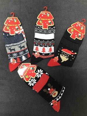 Новогодние носки с рисунками мужские - фото 18041