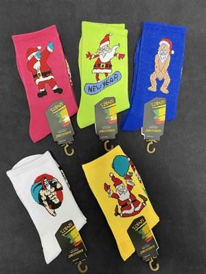 Носки с рисунками НГ модный Дед Мороз - фото 18103