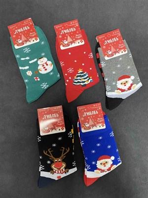 Носки с рисунками Новый Год, Елки и Санта - фото 18121