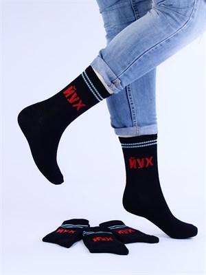 Носки с надписями оптом ЙУХ черные Nosi Noski - фото 18170