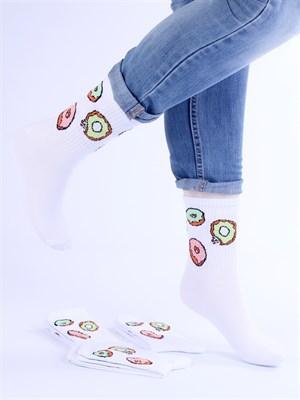 Носки с рисунками и с принтом оптом Пончики белые Nosi Noski - фото 18187