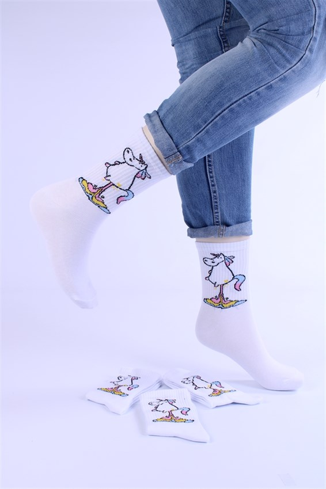Носки с рисунками и с принтом оптом Единарог цветной пук Nosi Noski - фото 18213