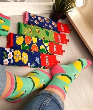 Женские носки GMG лимон и разные фрукты оптом - фото 18602