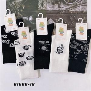 Носки с рисунками GMG высокие черно белые 1600-18 - фото 18655