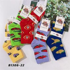 Носки средней длины GMG сочные рисунки фруктов оптом 1306-22 - фото 18664