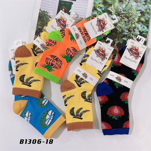 Носки средней длины GMG сочные рисунки фруктов оптом 1306-18 - фото 18671