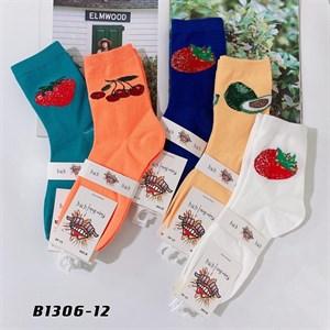 Носки средней длины GMG сочные рисунки фруктов оптом 1306-12 - фото 18672