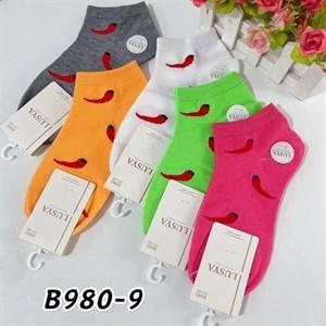 Женские носки короткие цветные с рисунками перец оптом 980-9 - фото 18710
