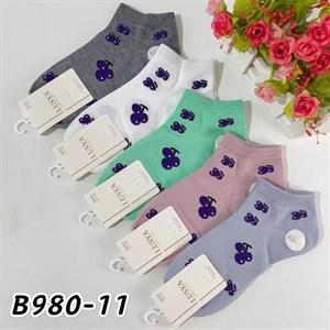 Женские носки короткие цветные с рисунками виноград оптом 980-11 - фото 18713