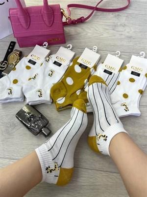 Женские носки короткие цветные с рисунками жираф оптом - фото 18721