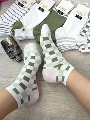 Женские носки короткие цветные с рисунками авокадик и разные оптом - фото 18726