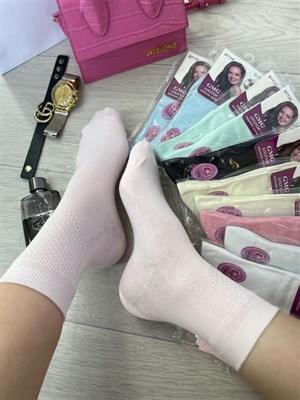 Женские носки однотонные высокие оптом с боку выработка 1456 - фото 18754