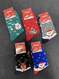 Носки с рисунками Новый Год, Елки и Санта