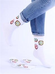 Носки с рисунками и с принтом оптом Пончики белые Nosi Noski