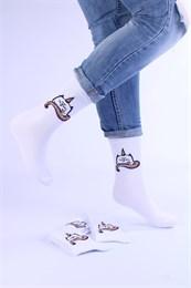 Носки с рисунками и с принтом оптом Единарог кот Nosi Noski