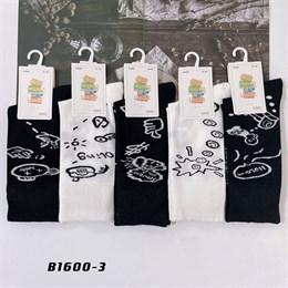 Носки с рисунками GMG высокие черно белые 1600-3