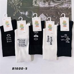 Носки с рисунками GMG высокие черно белые 1600-5