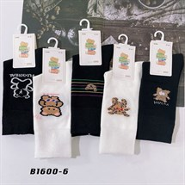 Носки с рисунками GMG высокие черно белые 1600-6