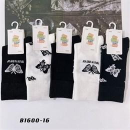 Носки с рисунками GMG высокие черно белые 1600-16
