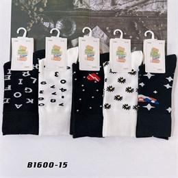 Носки с рисунками GMG высокие черно белые 1600-15