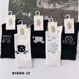Носки с рисунками GMG высокие черно белые 1600-12