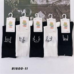 Носки с рисунками GMG высокие черно белые 1600-11
