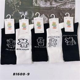 Носки с рисунками GMG высокие черно белые 1600-9