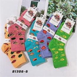 Носки средней длины GMG сочные рисунки авокадо оптом 1306-6
