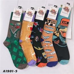 Мужские длинные носки с рисунками абстракты оптом GMG 1901-5