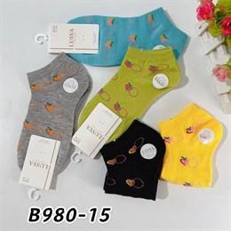 Женские носки короткие цветные с рисунками оптом 980-15