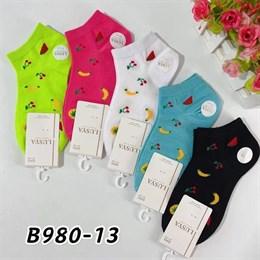 Женские носки короткие цветные с рисунками оптом 980-13