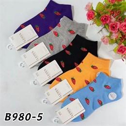 Женские носки короткие цветные с рисунками клубничка оптом 980-5