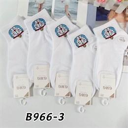 Женские носки короткие белые с рисунками кошки оптом 966-3