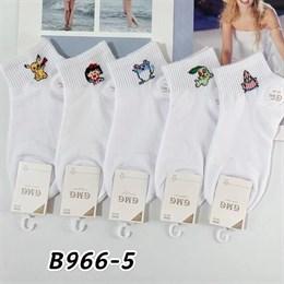 Женские носки короткие белые с рисунками мультяшки оптом 966-5
