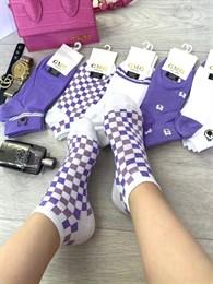 Женские носки короткие цветные с рисунками мишка и разные оптом