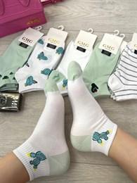 Женские носки короткие цветные с рисунками кактус и разные оптом