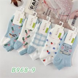 Женские носки короткие белые с рисунками цветочки оптом 968-9
