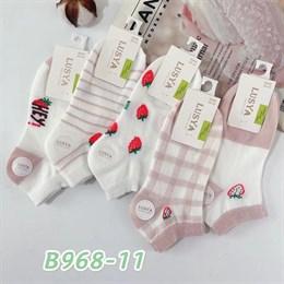 Женские носки короткие белые с рисунками оптом 968-11