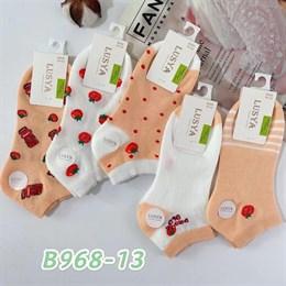 Женские носки короткие белые с рисунками оптом 968-13