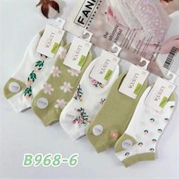 Женские носки короткие белые с рисунками оптом 968-6