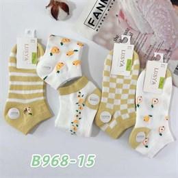 Женские носки короткие белые с рисунками оптом 968-15