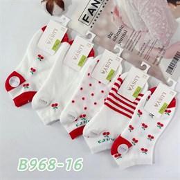Женские носки короткие белые с рисунками оптом 968-16
