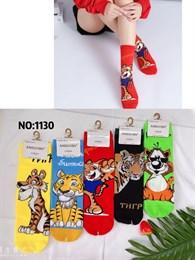 Новогодние носки с рисунками тигров ассорти оптом 1130