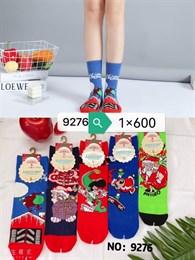 Новогодние носки с рисунками Санта Клауза ассорти оптом 9276