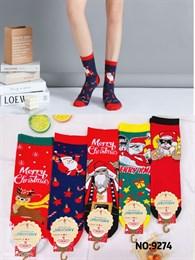 Новогодние носки с рисунками Санта Клауза ассорти оптом 9274