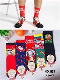 Новогодние носки с рисунками Санта Клауза ассорти оптом 1133