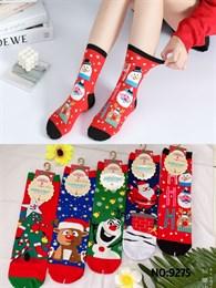 Новогодние носки с рисунками Санта Клауза елка ассорти оптом 9275